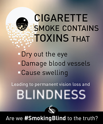 Cigarette smoke contains toxins that dry out the eye, damage blood vessels, and cause swelling leading to permanent vision loss and blindness.